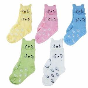 5 Pairs of Little Girls CAT KITTEN PAW SOCKS